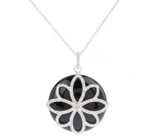 Diamonique Sterling Onyx Floral Overlay Pendant w/Chain —