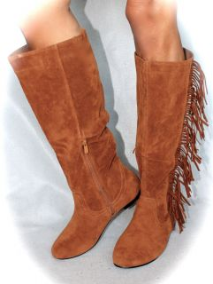 Fringe Boots Cherokee Indian Chestnut DK Tan Sueded Womens Tall Boot