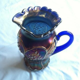 Carnival Glass Blueberry Cobalt Blue Pitcher EXTREMELY RARE MINT COND