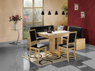 Tables Black Leather Dining Set Kitchen Booth Breakfast Nook Corner