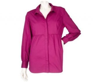 Susan Graver Stretch Cotton Shirt with Empire Waist Seam —