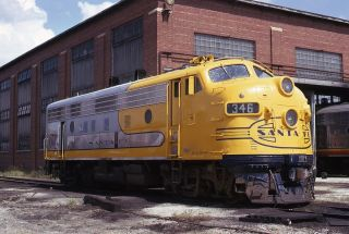Santa FE F7A 346 Yellow War Bonnet Corwith Shop Chicago IL 1973