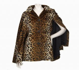 Dennis Basso Flat Faux Fur Button Front Cape —
