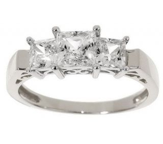 Diamonique 1.50 ct tw Princess Cut 3 Stone Ring 14K Gold —