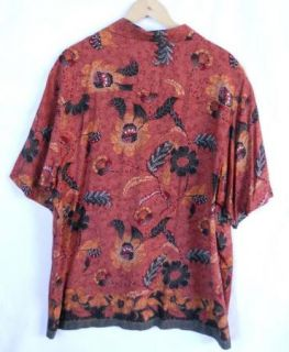 CRAZY HORSE XL Red Rust Hippie Batik Hawaiian Shirt Mens X Large