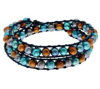 Honora Cultured Pearl Leather Wrap Bracelet —