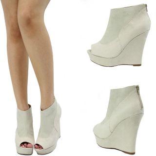 Cream White Open Peep Toe High Heel Platform Wedge Women Ankle Boot