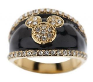 Disney Mickey Mouse Black Enamel & Crystal Band Ring —