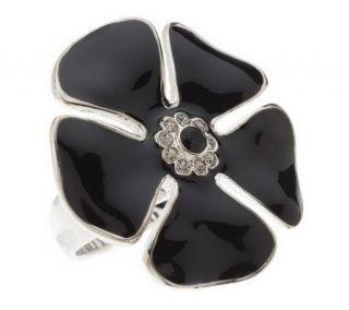 As Is David Sigal Sterling Enamel &Crystal Flower Ring   J270271