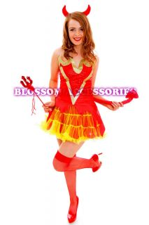 Horror Fancy Dress Halloween Costume Outfit Horns Pitch Fork