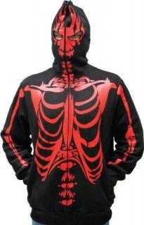 Print Adult Black Hooded Sweatshirt Hoodie Costume Face Mask