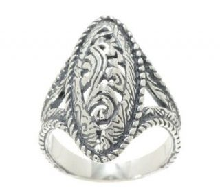 Carolyn Pollack Silver Rodeo Sterling Oval Ring   J265874
