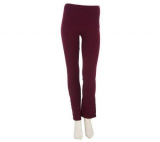 Susan Graver Stretch Cotton Full Length Knit Leggings with Buttons