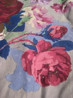 Vtg 40s 3 Panel Purple Shabby Floral Roses Drape Fabric