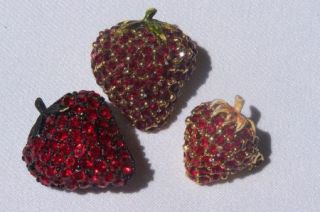 Vintage Ruby Red Rhinestone Strawberry Pin Brooch Lot