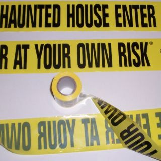 House Enter at Your Own Risk Crime Scene Yellow Barricade Tape