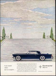Lincoln Continental Mark II Car Ad 1956 2 Door Dark Blue