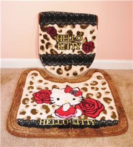 Brown Leopard Rose Contour Bathroom Rug Toilet Seat Cover Set