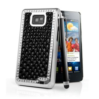 Black Bling Diamond Croc Skin Case Cover for Samsung i9100 Galaxy S2