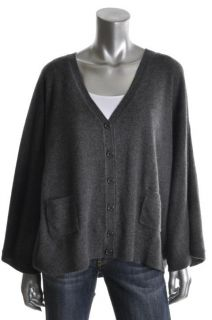 Cris New Gray Heathered Long Sleeves V Neck Ribbed Cardigan Sweater