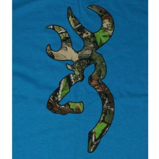 Turquoise Browning Camouflage Buckmark T Shirts Logo Color Camo
