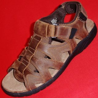New Mens Croft Barrow Pierson Brown Leather Casual Fisherman Sandals