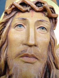Large Anri of Italy Carved Wood Cross w Christ Jesus w Gold Leaf Halo