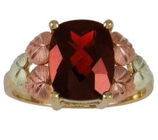 Black Hills Garnet Solitaire Ring, 10K/12K Gold —
