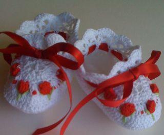 White Red Crochet Baby Booties Reborn Doll Rosebuds