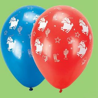 Red and Blue Cowboy Balloons Kids Western Horse Rodeo Party