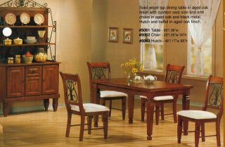 French Country Oak Dining Room Set w Black Iron Chairs