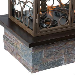 Portable GEL FUEL FIREPLACE Indoor Outdoor Patio Brown w/ Slate Accent