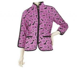 Bob Mackies Daisy Print Zip Front Mandarin Collar Jacket   A221787