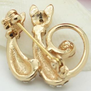 Cute Ladies 18K Gold Plated Couple Cat Clear Crystals Pin Brooch