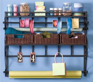 Iron Rattan Wall Craft Organizer Wrapping Paper Storage