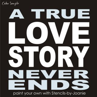 Stencil True Love Story Never End Block Letter French Typography Art