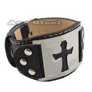Mens Wide Stainless Steel PU Leather Cross Bracelet 8 9 VB 02