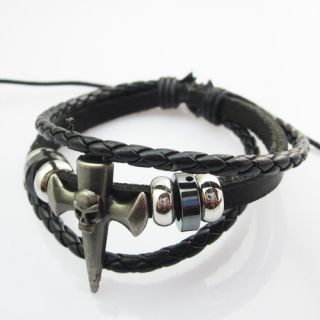 Stylish Hemp Leather Handmade Cross Skull Black Bracelet Wristband