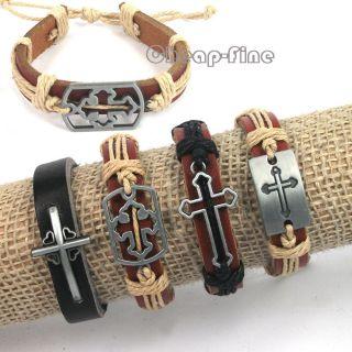 4pcs Fashion Mixed Cross Charms Genuine Leather Bracelets