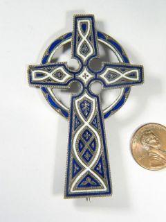 Antique Scottish Silver Enamel Celtic Cross Brooch Pin
