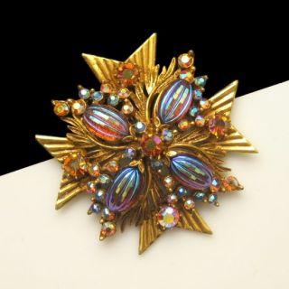 Florenza Vintage Large Maltese Cross Brooch Pin Pendant Art Glass