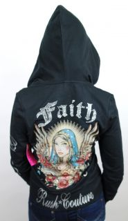 New Rush Couture Womens Premium Jersey Shore Hoodie Shirt Faith Black