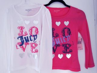Juicy Couture Kids Love Juicy Glitter Silver Hearts T Shirt Top 7 10