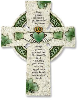 IRISH CELTIC WALL CROSS WITH CLADDAGH CENTER