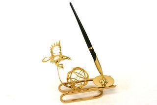 Gold Plated Crystal Delight Eagle Sun Catcher And Pen Holder Desk Set