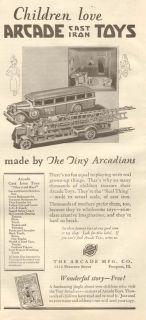 Cast Iron Toy Arcade Fire Truck Bus Crane Bathroom Miniature Ad