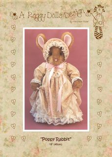 Primitive Homespun Rag Doll Rabbit Sewing Craft Pattern