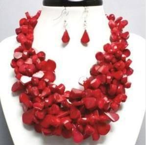 China Red Coral Necklace Earring Costume Jewelry Chunky