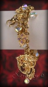 Kirks Folly Gold Crystal Crown Knight Unicorn Heart Charm Bracelet