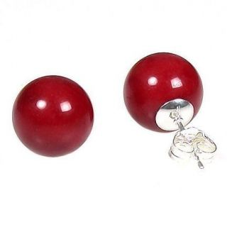 12mm Ital Red Coral Ball Stud Earrings 14k White Gold